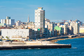 picture of malecon  - View of the Havana skyline facing the sea with the famous avenue of El Malecon in the foreground - JPG