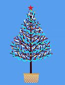 Old fashioned hand decorated Christmas tree with garland