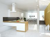 Luxurious kitchen interior.contemporary design concept