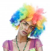 stock photo of spoiled brat  - Isolated Cheerful Female Clown with Spoiled Expression - JPG