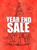 stock photo of year end sale  - Year end sale red background  - JPG