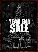 Year end sale on blackboard