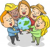 Illustration of People of Different Jobs and Races Holding a Globe Together