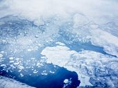 aerial view of pack ice near greenland