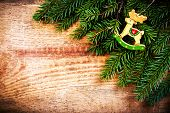 Christmas Ornaments On Vintage Wooden Background. Christmas Border With Fir Tree Branches And  Chris