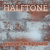Set Of Halftone On The Grunge Vector Background