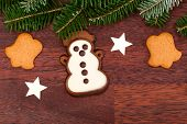 Gingerbread Snowman And Spruce Twig