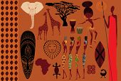 Africa: Icons, Symbols and Seamless Pattern - Set of Africa-themed design elements, including African mask, Masai warrior, African dancer, women, wildlife and seamless pattern