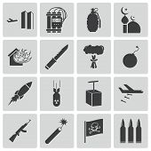 image of grenades  - Vector black  terrorism icons set on white background - JPG
