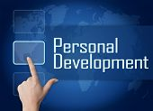 image of self assessment  - Personal Development concept with interface and world map on blue background - JPG