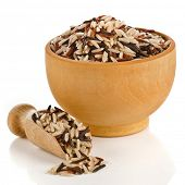 mixed rice in wooden bowl with spoon scoop  isolated on white background