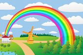 Rural landscape with a rainbow