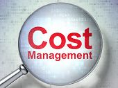 Finance concept: Cost Management with optical glass