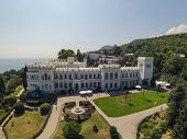 YALTA - AUG 29: Green lawn in fron of the Livadia Palace on August 29, 2013 in Yalta, Ukraine. View