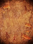 foto of prehistoric animal  - prehistoric painting with copy space digital illustration - JPG