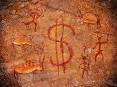stock photo of prehistoric animal  - prehistoric paint with dollar symbol and animals - JPG