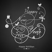 Happy New Year 2014 celebration flyer, banner, poster with stylish text on dark background.