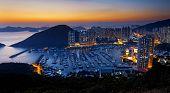 Hong Kong beautiful sunset , Aberdeen Typhoon Shelters