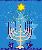 Vector Illustration Of Hanukkah Menorah Abstract Card