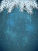 Blue winter abstract background. Christmas illustration with snowflakes and sparkles. White fir need