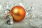 Orange Christmas Ball With Silver Bells