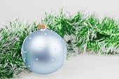 Blue Christmas Ball With Green Garland