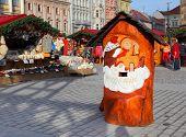PILSEN CZECH REPUBLIC - DECEMBER 3: Wooden post box to letters for Jezisek on the Christmas market in the city center on December 3 2013. Jezisek is Czech's local Santa Claus.
