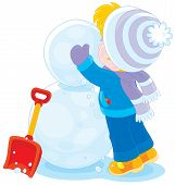 picture of kiddie  - Little boy or girl made big snowballs and makes a snowman - JPG