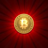 Bitcoin on red background