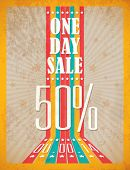 Vintage Retro One day Sale Typographic Background