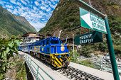 AGUAS CALIENTES, PERU - JULY 17: Perurail train between Aguas Calientes and Ollantaytambo in the And