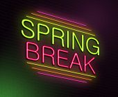 foto of spring break  - Illustration depicting an illuminated neon sign with a spring break concept - JPG