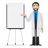 Scientist specifies on flipchart