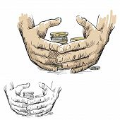 Hands hiding piles of coins, vector illustration
