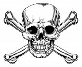 stock photo of skull cross bones  - Skull and Crossbones sign vintage style art and illustration - JPG