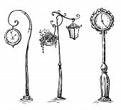 Street clocks and a lamp post, hand-drawn