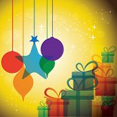 Christmas Festive Celebrations With Gift Boxes & Baubles - Vector.