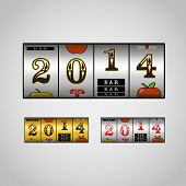 Slot maching with 2014 digits set