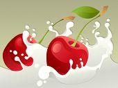 Milk splash with cherry