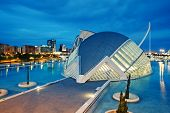 VALENCIA, SPAIN - APRIL 20, 2014: Evening view over the L'Hemisferic, a IMAX 3D-cinema, planetarium