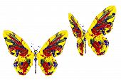 Red Yellow Blue Paint Made Butterfly Set