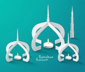 Vector 3D Muslim Paper Sculpture Oil Lamp. Translation: Ramadan Kareem - May Generosity Bless You Du
