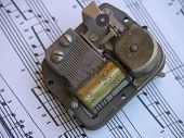 Old Music Box Over Sheet Music
