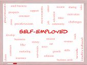 Self-employed Word Cloud Concept On A Whiteboard