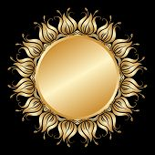Vector Gold Round Ornament.