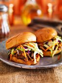 stock photo of sandwich  - two barbecue pulled pork slider sandwiches - JPG