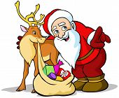 Vector Illustration Of Santa Claus With Reindeer Carrying Sack Full Of Gifts