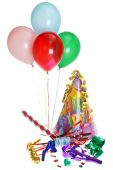 foto of party hats  - Isolated Birthday Party Supplies With Balloons on white background