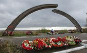 KOKKOREVO VILLAGE, LENINGRAD REGION, RUSSIA - MAY 11, 2014: Monument