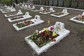 VSEVOLOZHSK, LENINGRAD REGION, RUSSIA - MAY 11, 2014: Graves of soldiers and officers of Red Army, w